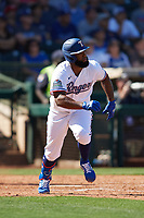 Danny Santana (38) of the Texas Rangers during a Cactus League Spring Training game against the Los Angeles Dodgers on March 8, 2020 at Surprise Stadium in Surprise, Arizona. Rangers defeated the Dodgers 9-8. (Tracy Proffitt/Four Seam Images)