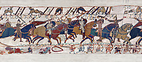 Bayeux Tapestry - Scene 54 -  Williams brother Bishop Odon encourages the Norman soldiers to fight. Scene 55 - Duke William takes off his helmet to show he has not been wounded. Battle of Hastings 1066.