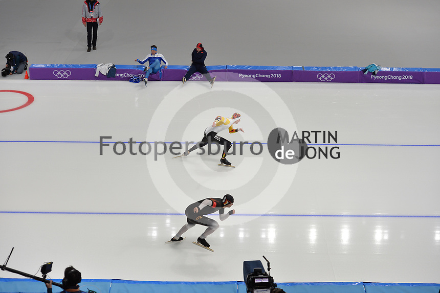 OLYMPIC GAMES: PYEONGCHANG: 19-02-2018, Gangneung Oval, Long Track, 500m Men, Mathias Vosté (BEL), Joel Dufter (GER), ©photo Martin de Jong
