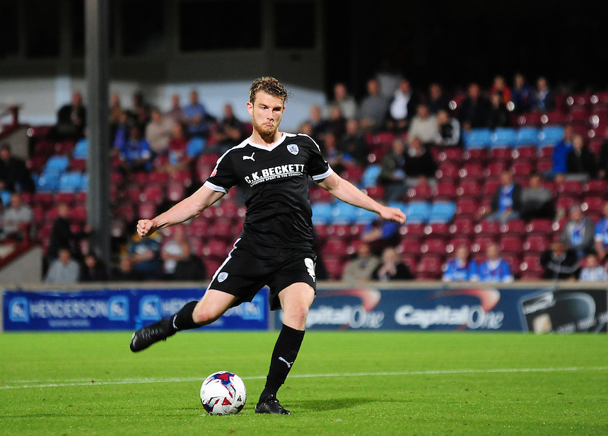 Barnsley's Sam Winnall takes a penalty during the shoot out<br /> <br /> Photographer Andrew Vaughan/CameraSport<br /> <br /> Football - Capital One Cup First Round - Scunthorpe United v Barnsley - Tuesday 11th August 2015 - Glanford Park - Scunthorpe<br />  <br /> &copy; CameraSport - 43 Linden Ave. Countesthorpe. Leicester. England. LE8 5PG - Tel: +44 (0) 116 277 4147 - admin@camerasport.com - www.camerasport.com