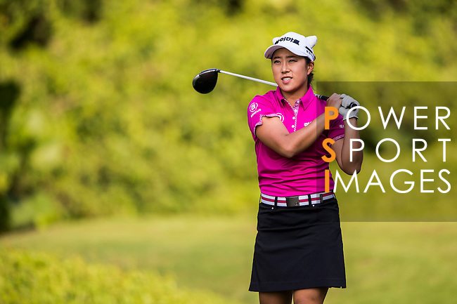 Hae-Rym Kim of Korea in action during the Hyundai China Ladies Open 2014 at World Cup Course in Mission Hills Shenzhen on December 14 2014, in Shenzhen, China. Photo by Li Man Yuen / Power Sport Images