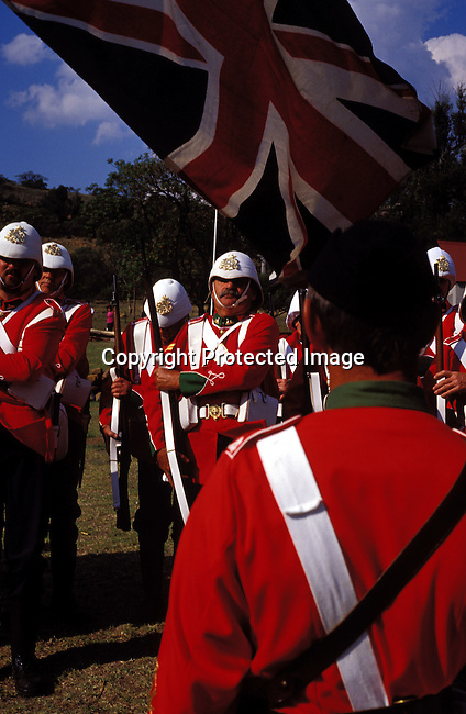 dicuafr00036 Culture Afrikaners British soldiers taking part of an re-enactment of the defence of Rorke's drift, a big battle from the Anglo-Boer war, during a yearly performance on September 27, 2002 in Dundee in Natal province, South Africa. .Photo: Per-Anders Pettersson/iAfrika Photos