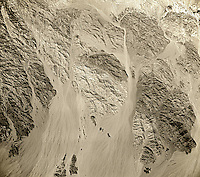 historical aerial photograph of desert and mountains east of Salton Sea, Imperial County, California, 1954