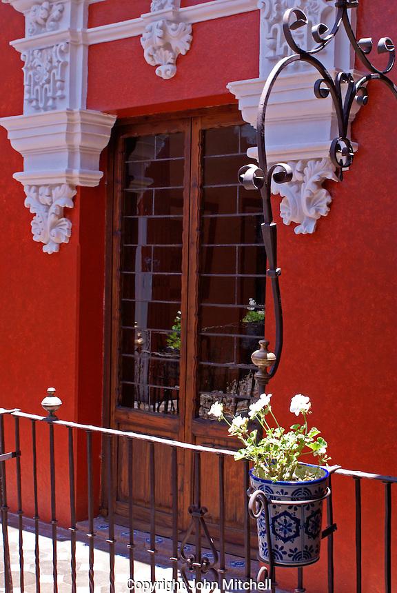 Balcony in  the  Museo Casa del Alfenique, Puebla, Mexico. The historical center of Puebla is a UNESCO World Heritage Site.