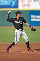 Kannapolis Intimidators shortstop Luis Curbelo (16) on defense against the Hickory Crawdads at L.P. Frans Stadium on July 20, 2018 in Hickory, North Carolina. The Crawdads defeated the Intimidators 4-1. (Brian Westerholt/Four Seam Images)