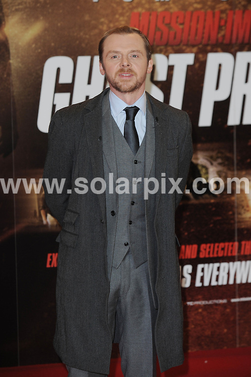 **ALL ROUND PICTURES FROM SOLARPIX.COM**                                             **WORLDWIDE SYNDICATION RIGHTS**                                                                                  Caption: Actor Tom Cruise Arrives for the UK Premiere of Mission: Impossible Ghost Protocol at the BFI Southbank  in London                                                                              This pic:Simon Pegg                                                                                      JOB REF:14298        LNJ       DATE: 13.12.2011                                                           **MUST CREDIT SOLARPIX.COM OR DOUBLE FEE WILL BE CHARGED**                                                                      **MUST AGREE FEE BEFORE ONLINE USAGE**                               **CALL US ON: +34 952 811 768 or LOW RATE FROM UK 0844 617 7637**