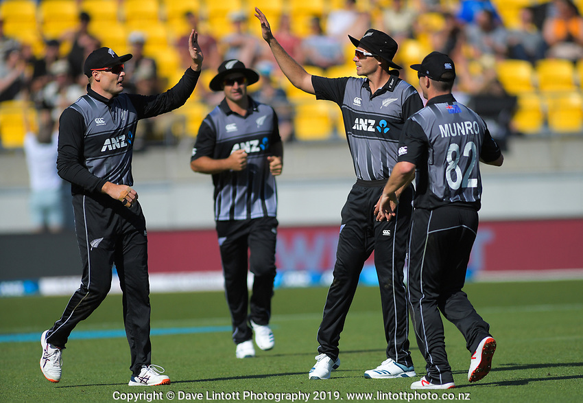 Martin Guptill celebrates catching England's Dawid Malan, with NZ captain Tim Southee. Twenty20 International cricket match between NZ Black Caps and England at Westpac Stadium in Wellington, New Zealand on Sunday, 3 November 2019. Photo: Dave Lintott / lintottphoto.co.nz