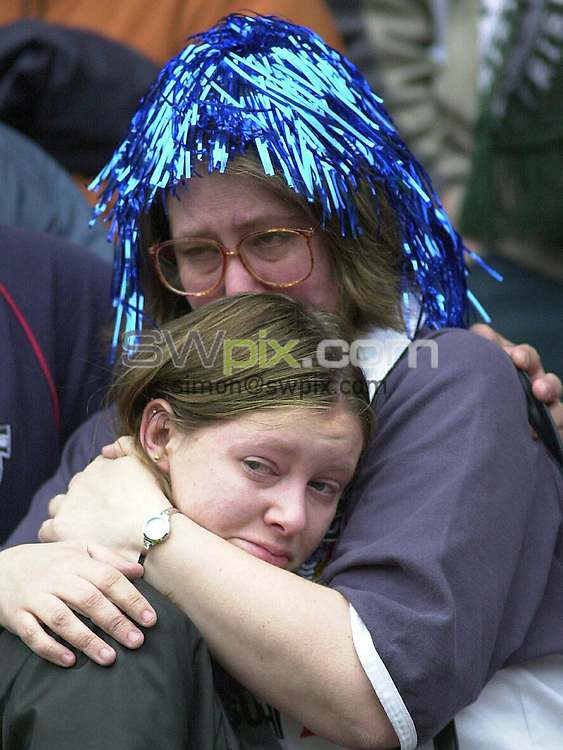Pix, Dave Winter/SWpix. Zurich Premiership..London Irish v Bristol... 10/5/2003...COPYRIGHT PICTURE>>SIMON WILKINSON>>01943 - 436649>>..Bristol fans feel the anguish as their side is relegated.