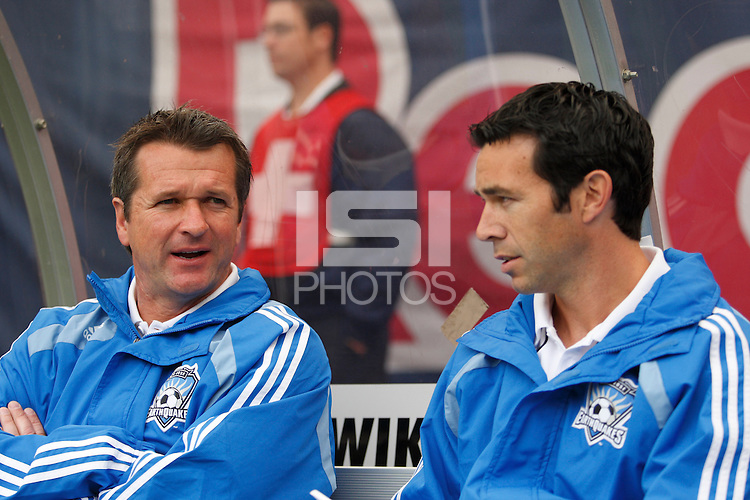 San Jose Earthquakes head coach Frank Yallop talks with assistant coach Ian Russell. The New York Red Bulls defeated the San Jose Earthquakes 2-0 during a Major League Soccer match at Giants Stadium in East Rutherford, NJ, on April 27, 2008.