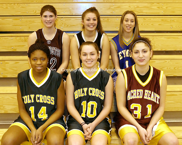 WATERBURY, CT. 22 FEBRUARY 2006- 022206BZ24- All-NVL girls basketball.<br /> Front row from left- Kim Clements, of Holy Cross; Kelly McKeon, of Holy Cross; Catherine Coviello, of Sacred Heart<br /> <br /> Back row from left- Cat Dinda, of Torrington; Jen Valente, of Woodland; Heather Lee, of Seymour<br /> Jamison C. Bazinet / Republican-American