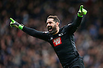 Scott Carson of Derby celebrates his sides winning goal during the Skybet Championship match at the iPro Stadium. Photo credit should read: Philip Oldham/Sportimage