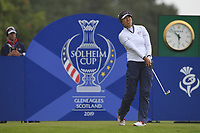 Annie Park of Team USA on the 17th tee during Day 2 Fourball at the Solheim Cup 2019, Gleneagles Golf CLub, Auchterarder, Perthshire, Scotland. 14/09/2019.<br /> Picture Thos Caffrey / Golffile.ie<br /> <br /> All photo usage must carry mandatory copyright credit (© Golffile | Thos Caffrey)