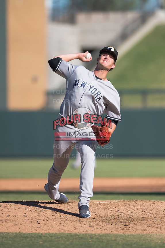 Glendale Desert Dogs relief pitcher Hobie Harris (41), of the New York Yankees organization, delivers a pitch during an Arizona Fall League game against the Salt River Rafters at Salt River Fields at Talking Stick on October 31, 2018 in Scottsdale, Arizona. Glendale defeated Salt River 12-6 in extra innings. (Zachary Lucy/Four Seam Images)