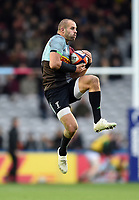 Ross Chisholm of Harlequins claims the ball in the air. Premiership Rugby Cup match, between Harlequins and Newcastle Falcons on November 4, 2018 at the Twickenham Stoop in London, England. Photo by: Patrick Khachfe / JMP