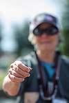 Katie Lambie holds up her father's lure that she used while participating in the Casting for Recovery fishing clinic at Bently Ranch in Gardnerville, Nev. May 4, 2018.<br /> Photo by Candice Vivien/Nevada Momentum