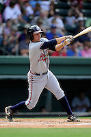 Designated hitter Ross Wilson (16) of the Rome Braves bats in a game against the Greenville Drive on Sunday, August 3, 2014, at Fluor Field at the West End in Greenville, South Carolina. Rome won, 4-2. (Tom Priddy/Four Seam Images)