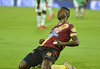 MEDELLÍN - COLOMBIA ,16-05-2019.Marco Perez jugador del  Deportes Tolima celebra después de anotar su segundo gol al Atlético Nacional durante partido por los cuadrangulares finales del  grupo B de la Liga Águila I 2019 jugado en el estadio Atanasio Girardot de la ciudad de Medellín. /Marco Perez player of Deportes Tolima celebrates after scoring a second goal against of Atletico Nacional during  the second  match for the quarter finals B of the Liga Aguila I 2019 played at the Atanasio Girardot  Stadium in Medellin  city. Photo: VizzorImage / León Monsalve / Contribuidor.