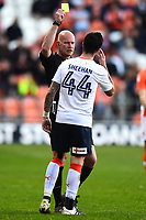 Luton Town's Alan Sheehan is shown a yellow card by Referee Nigel Miller<br /> <br /> Photographer Richard Martin-Roberts/CameraSport<br /> <br /> The EFL Sky Bet League Two Play-Off Semi Final First Leg - Blackpool v Luton Town - Sunday May 14th 2017 - Bloomfield Road - Blackpool<br /> <br /> World Copyright &copy; 2017 CameraSport. All rights reserved. 43 Linden Ave. Countesthorpe. Leicester. England. LE8 5PG - Tel: +44 (0) 116 277 4147 - admin@camerasport.com - www.camerasport.com