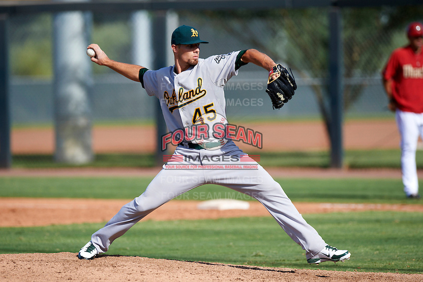 Oakland Athletics minor league pitcher Blake Hassebrock #45 during an instructional league game against the Arizona Diamondbacks at the Salt River Flats Complex on October 5, 2012 in Scottsdale, Arizona.  (Mike Janes/Four Seam Images)