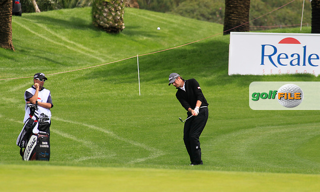 Simon Thornton (IRL) chips into the 13th green during Saturday's rain delayed Round 3 of the Open de Espana at Real Club de Golf de Sevilla, Seville, Spain, 5th May 2012 (Photo Eoin Clarke/www.golffile.ie)
