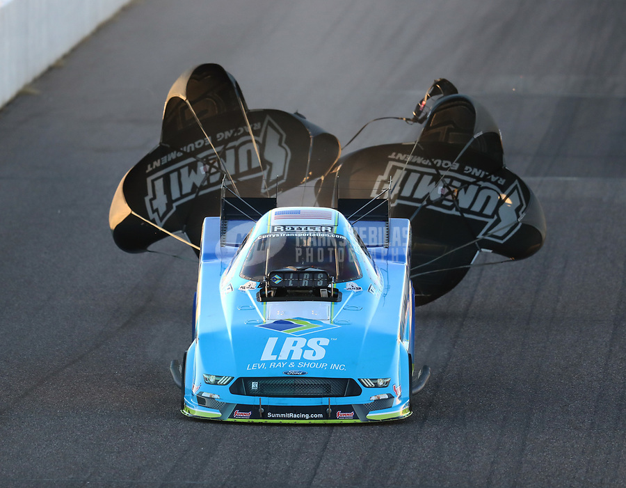Feb 23, 2019; Chandler, AZ, USA; NHRA funny car driver Tim Wilkerson during qualifying for the Arizona Nationals at Wild Horse Pass Motorsports Park. Mandatory Credit: Mark J. Rebilas-USA TODAY Sports