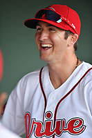 Second baseman Jagger Rusconi (48) of the Greenville Drive in a game against the Asheville Tourists on Tuesday, May 2, 2017, at Fluor Field at the West End in Greenville, South Carolina. Asheville won, 7-1. (Tom Priddy/Four Seam Images)