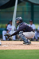 GCL Yankees West catcher Hemmanuel Rosario (21) waits to receive a pitch during the second game of a doubleheader against the GCL Braves on July 30, 2018 at Champion Stadium in Kissimmee, Florida.  GCL Braves defeated GCL Yankees West 5-4.  (Mike Janes/Four Seam Images)