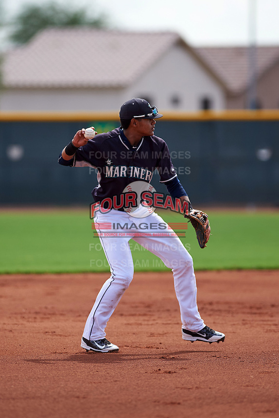 Seattle Mariners Christopher Torres (24) during an instructional league game against the Texas Rangers on October 5, 2015 at the Surprise Stadium Training Complex in Surprise, Arizona.  (Mike Janes/Four Seam Images)