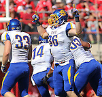 LINCOLN, NE - SEPTEMBER 21, 2013:  Jack Sherlock #36 of South Dakota State reacts after a fumble recovery in the first half of their game against Nebraska Saturday at Memorial Stadium in Lincoln, NE.  (Photo by Dick Carlson/Inertia)