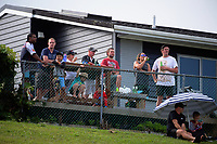 Fans watch the Women's Cup Final between Manawatu and Waikato on day two of the 2018 Bayleys National Sevens at Rotorua International Stadium in Rotorua, New Zealand on Sunday, 14 January 2018. Photo: Dave Lintott / lintottphoto.co.nz