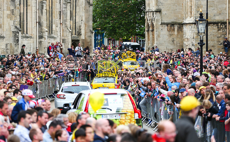 Picture by Alex Whitehead/SWpix.com - 06/07/2014 - Cycling - Tour de France 2014: Stage 2, York to Sheffield - Yorkshire, England - Team cars at York Minster.