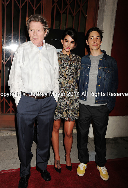 LOS ANGELES, CA- SEPTEMBER 16: (L-R) Actors Michael Parks, Genesis Rodriguez and Justin Long arrive at the Los Angeles premiere of 'Tusk' at the Vista Theatre on September 16, 2014 in Los Angeles, California.