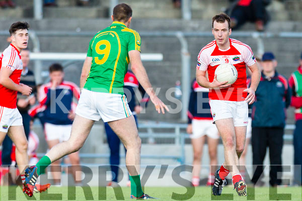 Brendan O'Sullivan South Kerry in action against Darragh O'Sullivan Dingle in the Quarter Finals of the Kerry County Football Championship at Austin Stack Park on Saturday.