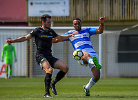 Paul Ifill and Eric Molloy (left) compete for the ball during the ISPS Handa Premiership football match between Team Wellington and Tasman United at David Farrington Park in Wellington, New Zealand on Sunday, 12 November 2017. Photo: Dave Lintott / lintottphoto.co.nz