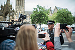 © Joel Goodman - 07973 332324 . 28/05/2017 . Manchester , UK . Manchester City Centre Inspector PHIL SPURGEON makes a statement to media in Albert Square thanking people for their support following the murderous bomb attack at an Ariana Grande gig at Manchester Arena on Monday 22nd May . People in Manchester have been coming up to and hugging police officers and they've received gifts of pizzas and thousands of tea bags from well-wishers and businesses . Photo credit : Joel Goodman