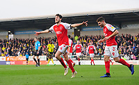 Fleetwood Town's Ashley Nadesan, left, celebrates scoring the opening goal with team-mate Ched Evans<br /> <br /> Photographer Chris Vaughan/CameraSport<br /> <br /> The EFL Sky Bet League One - Saturday 23rd February 2019 - Burton Albion v Fleetwood Town - Pirelli Stadium - Burton upon Trent<br /> <br /> World Copyright © 2019 CameraSport. All rights reserved. 43 Linden Ave. Countesthorpe. Leicester. England. LE8 5PG - Tel: +44 (0) 116 277 4147 - admin@camerasport.com - www.camerasport.com