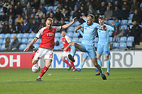 Fleetwood Town's Paddy Madden  gets a shot on goal<br /> <br /> Photographer Mick Walker/CameraSport<br /> <br /> The EFL Sky Bet League One - Coventry City v Fleetwood Town - Tuesday 12th March 2019 - Ricoh Arena - Coventry<br /> <br /> World Copyright © 2019 CameraSport. All rights reserved. 43 Linden Ave. Countesthorpe. Leicester. England. LE8 5PG - Tel: +44 (0) 116 277 4147 - admin@camerasport.com - www.camerasport.com