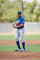 Los Angeles Dodgers starting pitcher Jose Martinez (94) gets ready to deliver a pitch during an Instructional League game against the Milwaukee Brewers at Maryvale Baseball Park on September 24, 2018 in Phoenix, Arizona. (Zachary Lucy/Four Seam Images)