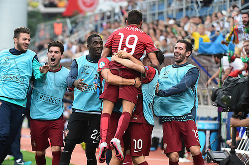 27.06.2015. Andruv Stadium, Olomouc, Czech Republic. U21 European championships, semi-final. Portugal versus Germany.  Ricardo Horta (Portugal) celebrates the goal, for 5:0