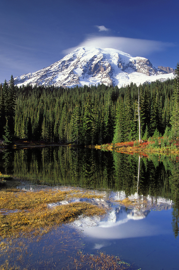 Mount Rainier reflection on Reflection Lakes in autumn, Reflection Lakes, Mount Rainier National Park, Lewis County, WA