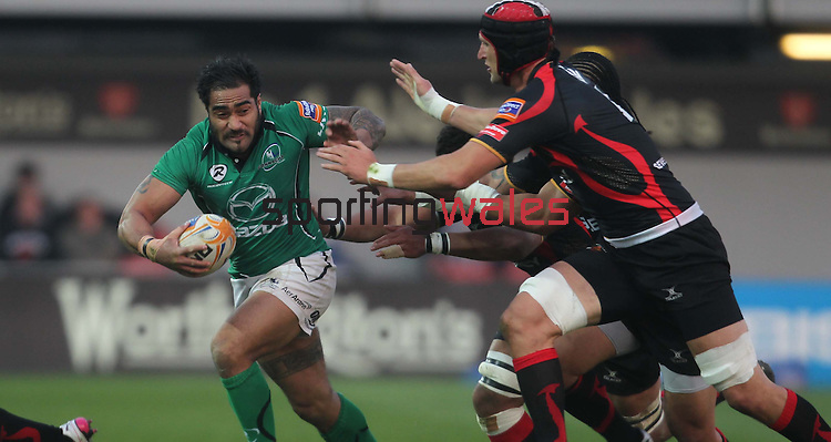 Rabo Direct Pro 12.Henry Fa'afili tries to avoid the Dragons defence..Newport Gwent Dragons v Connacht.30.03.12.©Steve Pope