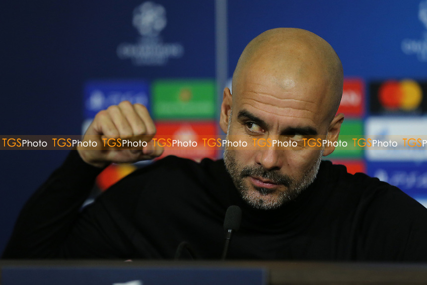 Manchester City Manager, Pep Guardiola during a Manchester City Press Conference at the Groupama Stadium on 26th November 2018
