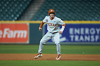 Brenden Dixon (1) of the Texas Longhorns takes his lead off of first base against the LSU Tigers in game three of the 2020 Shriners Hospitals for Children College Classic at Minute Maid Park on February 28, 2020 in Houston, Texas. The Tigers defeated the Longhorns 4-3. (Brian Westerholt/Four Seam Images)
