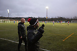Gala Fairydean Rovers 4, Gretna 1, 25/01/2020. Netherdale, Scottish Lowland League. The home team's management team get ready to celebrate their side's fourth goal during the second-half as Gala Fairydean Rovers host Gretna 2008 in a Scottish Lowland League match at Netherdale, Galashiels. The home club were established in 2013 through a merger of Gala Fairydean, one of Scotland's most successful non-League clubs, and local amateur club Gala Rovers. The visitors were a 'phoenix' club set up in the wake of the collapse of the original club, which had competed for a short time in the 2000s before going bankrupt. The home aside won this encounter 4-1 watched by a crowd of 120. Photo by Colin McPherson.