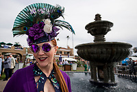 DEL MAR, CA - NOVEMBER 03: A woman wears a fancy hat with peacock feathers on it on Day 1 of the 2017 Breeders' Cup World Championships at Del Mar Racing Club on November 3, 2017 in Del Mar, California. (Photo by Scott Serio/Eclipse Sportswire/Breeders Cup)