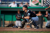 West Virginia Black Bears catcher Zach Susi (3) waits to receive a throw during a game against the Batavia Muckdogs on July 2, 2018 at Dwyer Stadium in Batavia, New York.  West Virginia defeated Batavia 3-1.  (Mike Janes/Four Seam Images)