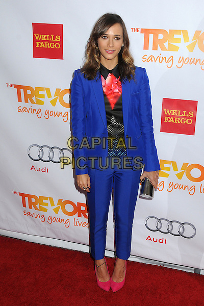 "Rashida Jones.The Trevor Project's ""Trevor Live"" 2012 held at the Hollywood Palladium, Hollywood, California, USA..December 2nd, 2012.full length blue suit blazer pink black pattern shirt shoes clutch bag.CAP/ADM/BP.©Byron Purvis/AdMedia/Capital Pictures."