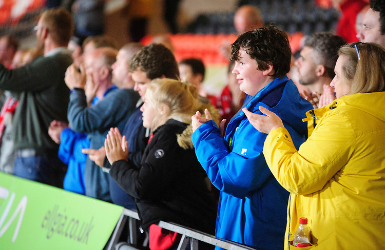 Lincoln City fans applaud their team at the final whistle<br /> <br /> Photographer Andrew Vaughan/CameraSport<br /> <br /> EFL Leasing.com Trophy - Northern Section - Group H - Doncaster Rovers v Lincoln City - Tuesday 3rd September 2019 - Keepmoat Stadium - Doncaster<br />  <br /> World Copyright © 2018 CameraSport. All rights reserved. 43 Linden Ave. Countesthorpe. Leicester. England. LE8 5PG - Tel: +44 (0) 116 277 4147 - admin@camerasport.com - www.camerasport.com