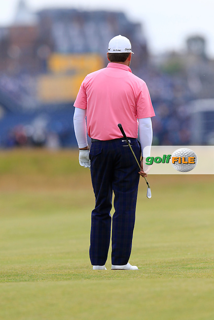 Graeme McDOWELL (NIR) prepares to play his 2nd shot on the 15th hole during Monday's Final Round of the 144th Open Championship, St Andrews Old Course, St Andrews, Fife, Scotland. 20/07/2015.<br /> Picture Eoin Clarke, www.golffile.ie