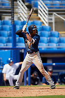 Lakeland Flying Tigers left fielder Derek Hill (18) at bat during a game against the Dunedin Blue Jays on May 27, 2018 at Dunedin Stadium in Dunedin, Florida.  Lakeland defeated Dunedin 2-1.  (Mike Janes/Four Seam Images)
